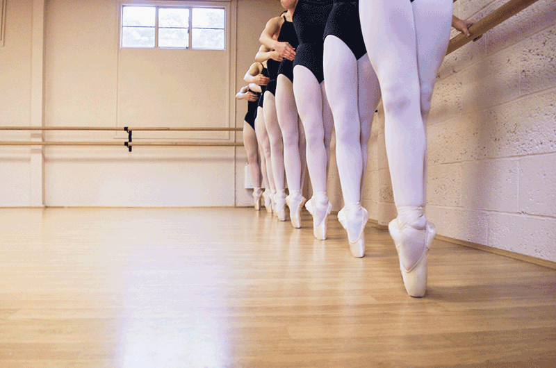 Ballet dancers feet in class at JACAD in Wokingham